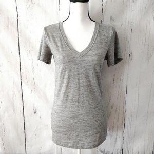PINK Victoria's Secret Banded Grey VNeck T-Shirt M